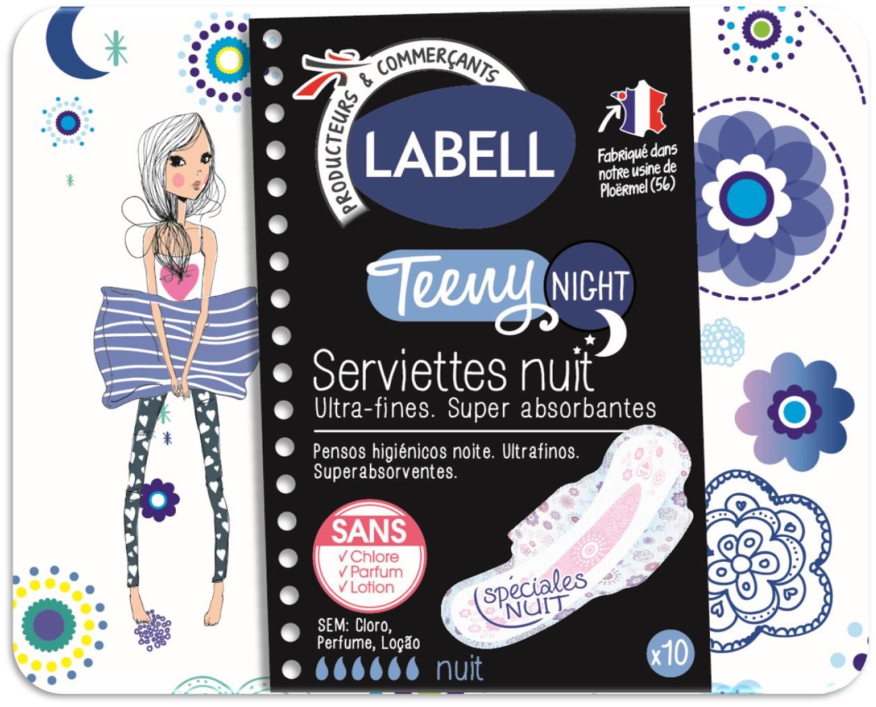 serviette labell teeny nuit